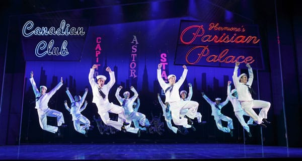 Clyde Alves, Tony Yazbeck, Jay Armstrong Johnson, and the cast of Broadway's ON THE TOWN
