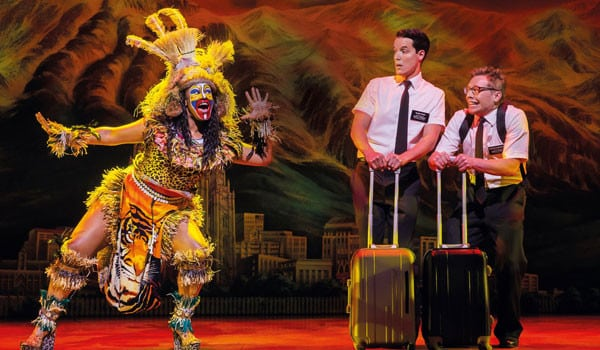 Tania-Mathurin,-KJ-Hippensteel-and-Brian-Sears.-The-Book-of-Mormon-London.-Credit-Johan-Persson-2016