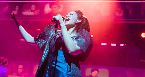 Natalie Mendoza in Here Lies Love at the Dorfman Theatre