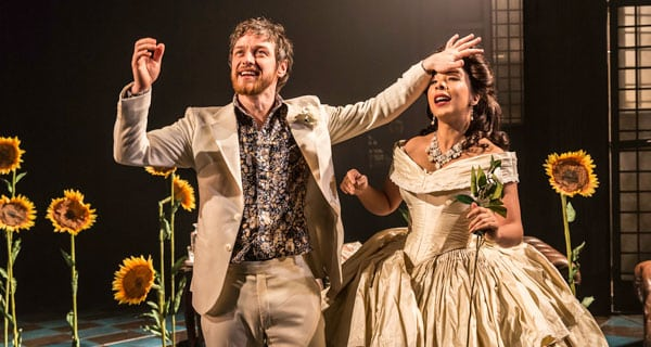 James McAvoy and Kathryn Drysdale in The Ruling Class at Traflagar Studios