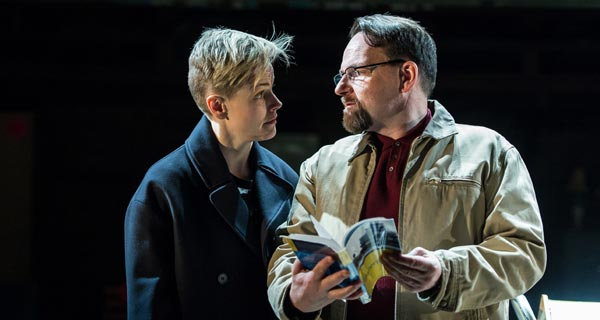 Maxine Peake and Peter Forbes in How To Hold Your Breath at the Royal Court. Photo: Manuel Harlan