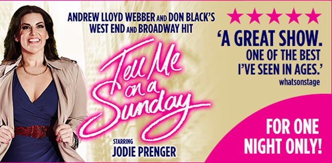 Jodie Prenger stars as Emma in the 2016 Uk Natinal Tour of Andrew Lloyd Webber and Don Black's musical Tell Me On A Sunday