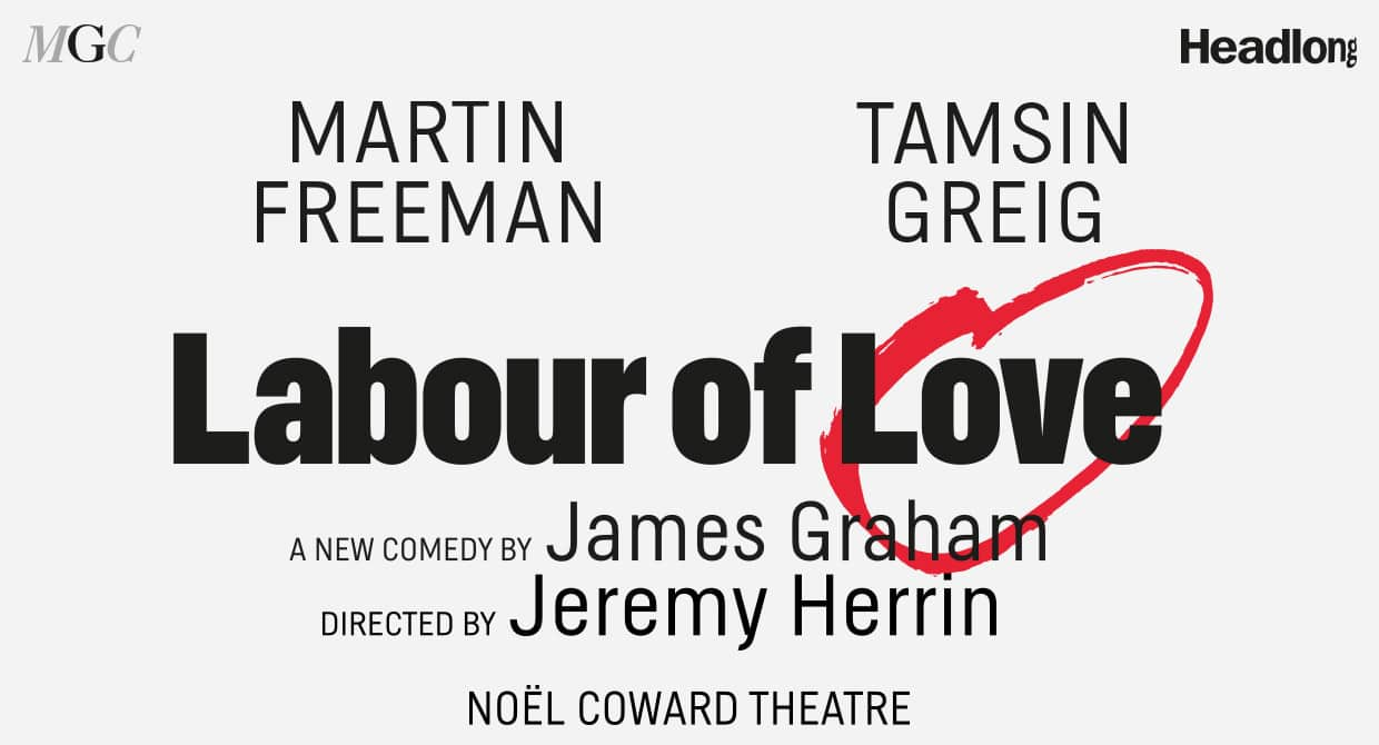 Martin Freeman and Tamsin Grieg in Labour Of Love at Noel Coward Theatre