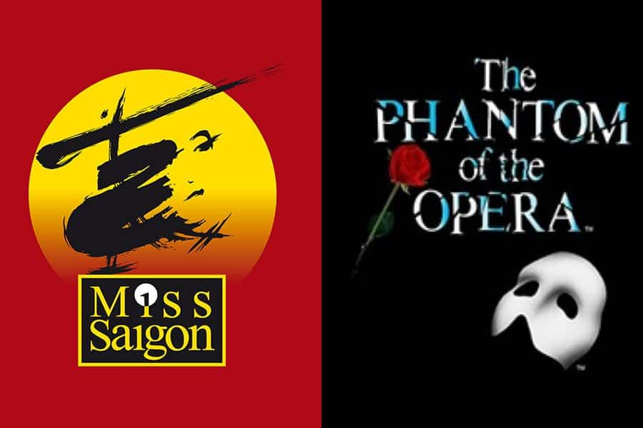 Miss Saigon and The Phantom Of The Opera ties for 3rd place in the Top 100 Greatest musicals poll