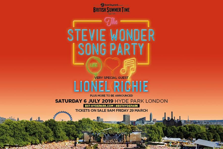 Stevie Wonder Hyde Park tickets July 2019