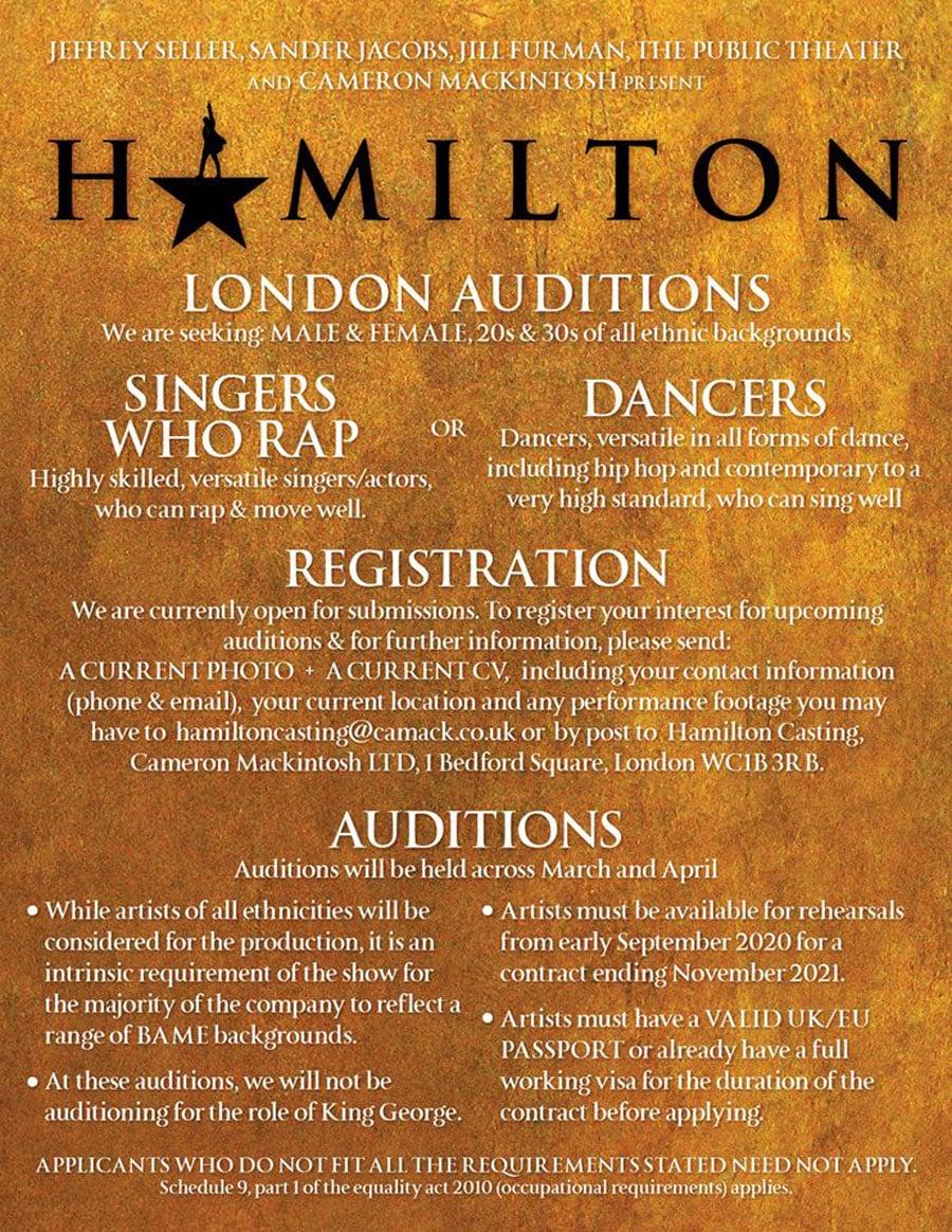 Hamilton auditions London