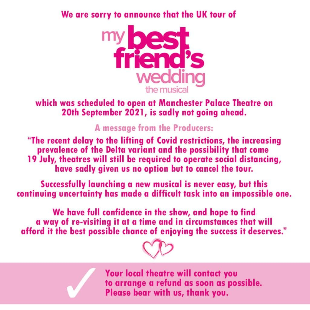 My Best Friend's Wedding the musical cancelled