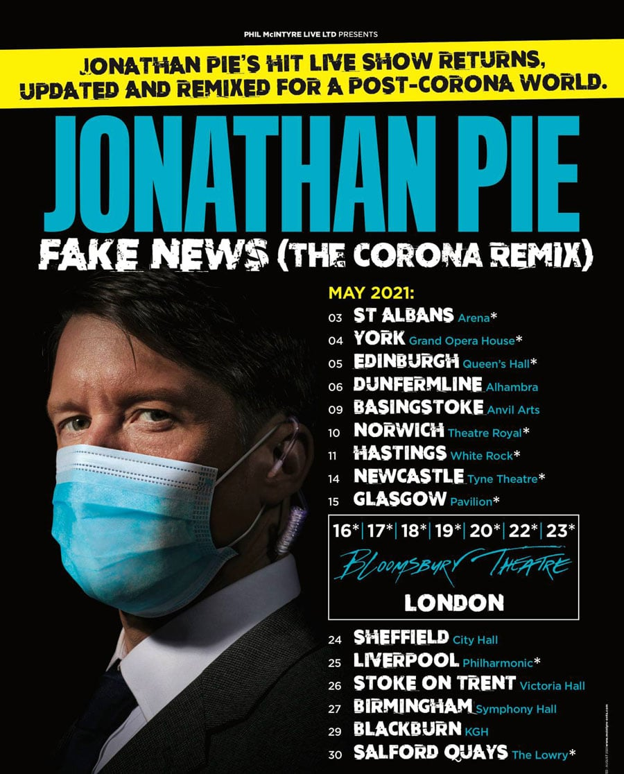 Jonathan Pie UK Tour 2021