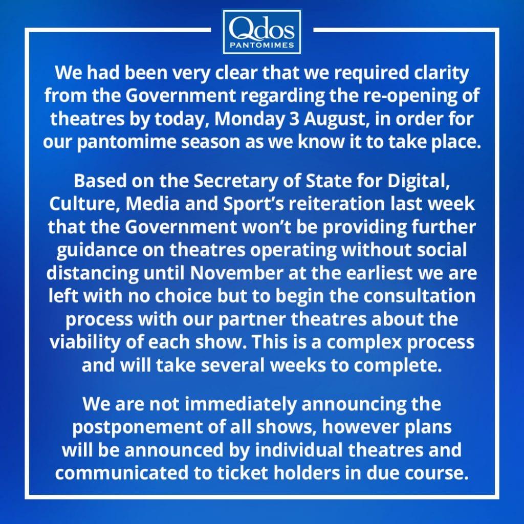 QDOS Panto response 2020