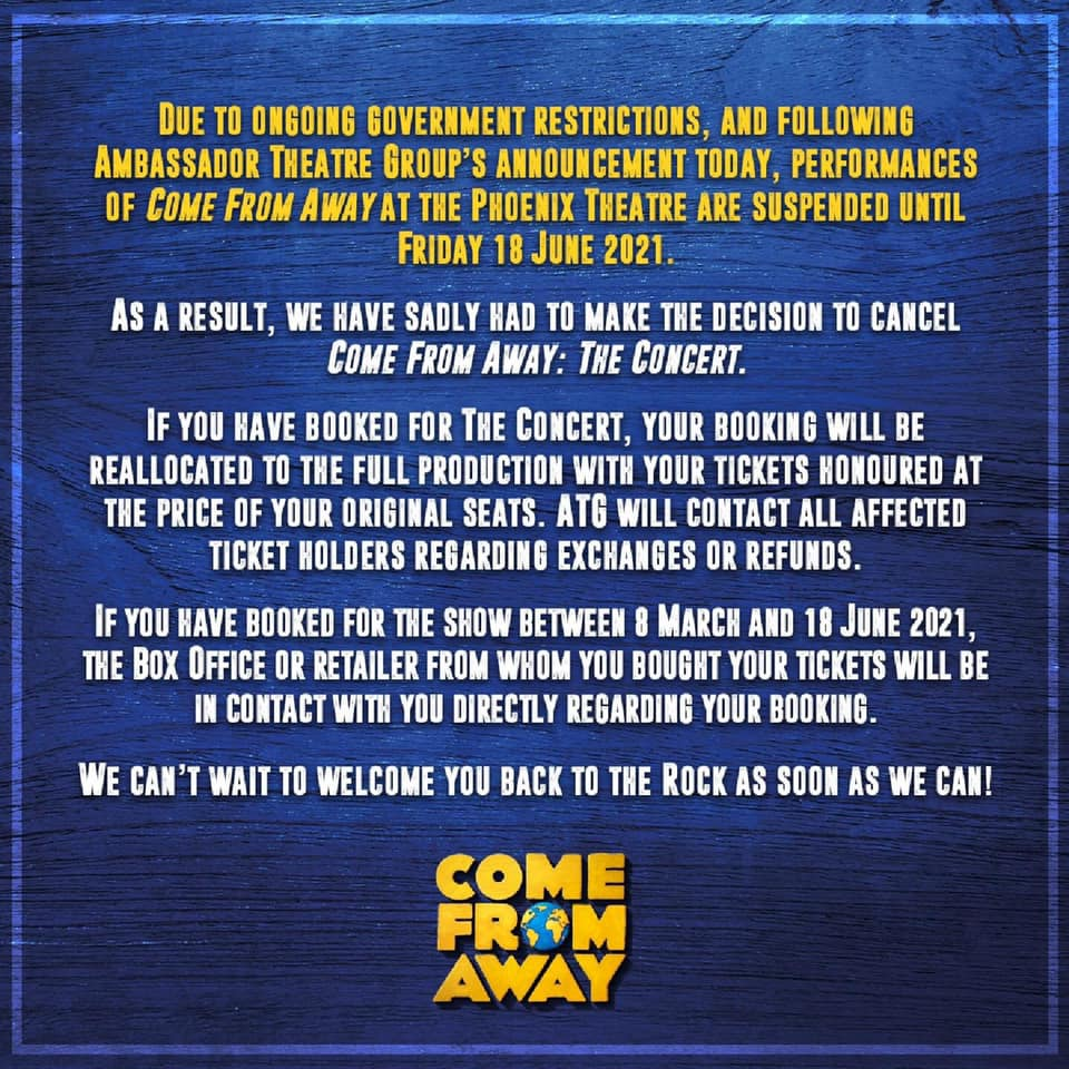 Come From Away The Concert cancelled