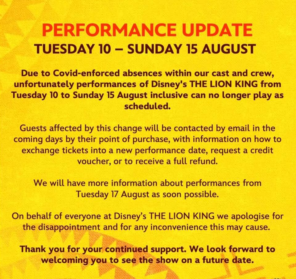 Thw Lion King cancellations