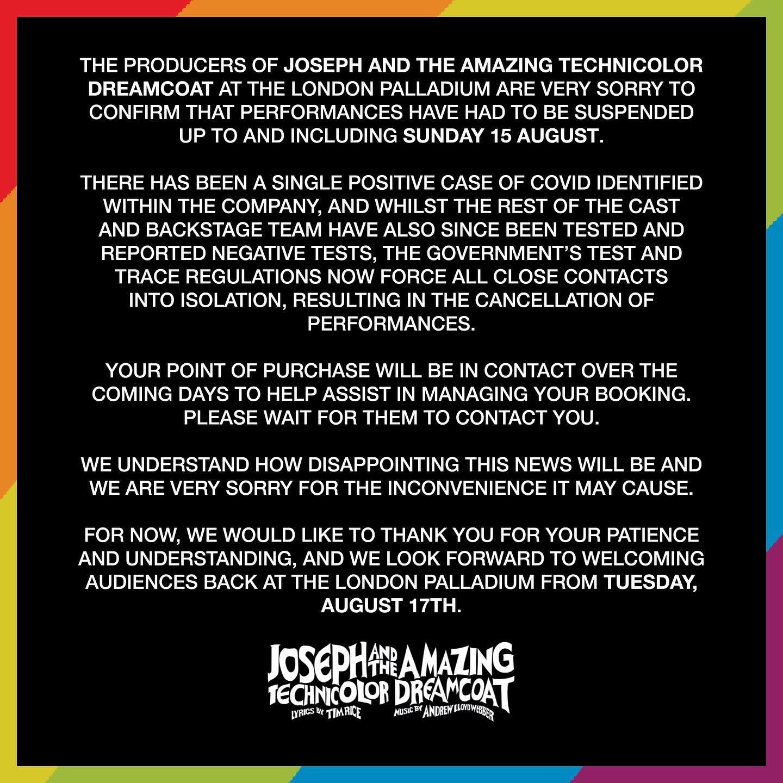 Joseph cancels performances as cast isolate.