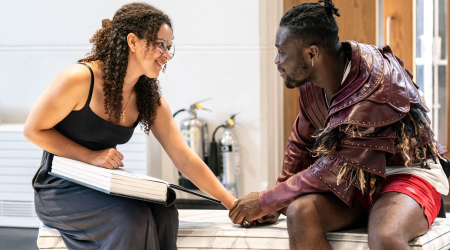 Courtney-Stapleton-as-Belle-and-Emmanuel-Kojo-as-Beast-in-Disney's-Beauty-and-the-Beast-rehearsals1.-Photo—Johan-Persson-©Disney