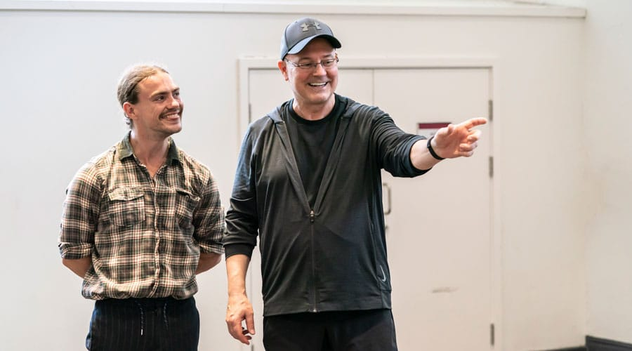 Louis-Stockil-as-Le-Fou-in-Disney's-Beauty-and-the-Beast-rehearsals-with-Director-and-Chorepgrapher-Matt-West.-Photo—Johan-Persson-©Disney
