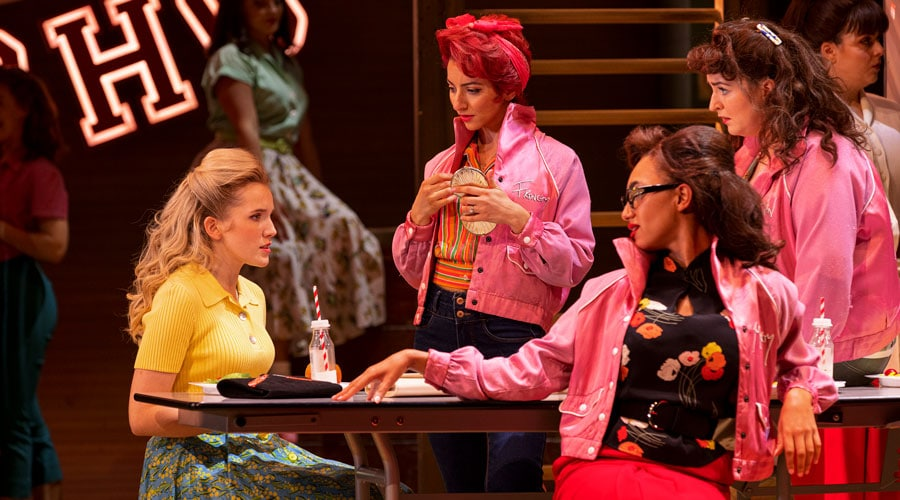 LtoR-Georgia-Louise-as-Sandy,-Marianna-Neofitou-as-Frenchie,-Inez-Budd-as-Marty-&-Maeve-Byrne-as-Jan-in-Grease,-credit-Sean-Ebsworth-Barnes