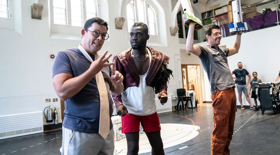 Nigel-Richards-as-Cogsworth,-Emmanuel-Kojo-as-Beast-and-Gavin-Lee-as-Lumiere-in-Disney's-Beauty-and-the-Beast-rehearsals.-Photo—Johan-Persson-©Disney