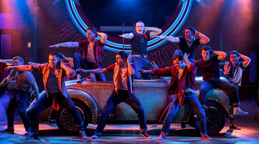 Paul-French-(centre)-as-Kenickie-and-the-Burger-Palace-Boys-in-Grease,-credit-Sean-Ebsworth-Barnes